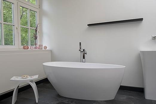 Freistehende Badewanne Mineralguss Oval Weiß Inkl Ablaufventil