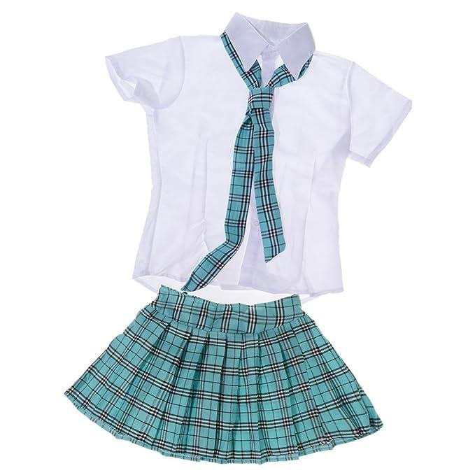 MagiDeal Set de Uniforme de Niña de Escuela Falda Camisa Corbata Japonesa Traje Cosplay Lencería -