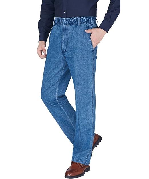 ZKOOO Pantalones Vaqueros Hombre Suelto Pernera Recta Jeans Pantalón Denim Pantalon Largos con Cintura Elástica