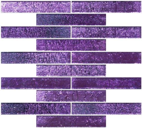 Susan Jablon Mosaics - 1x6 Inch Lavender Purple Dichroic Glass Subway Tile Reset In Running-brick Layout