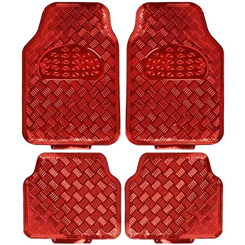 Steering Floor Mats Wheel - BDK MT-641-RD Universal Fit 4-Piece Set Metallic Design Car Floor Mat-Heavy Duty All Weather with Rubber Backing (Red)