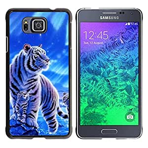 Design for Girls Plastic Cover Case FOR Samsung ALPHA G850 Winter Snow Cub Tiger White Blue Nature OBBA