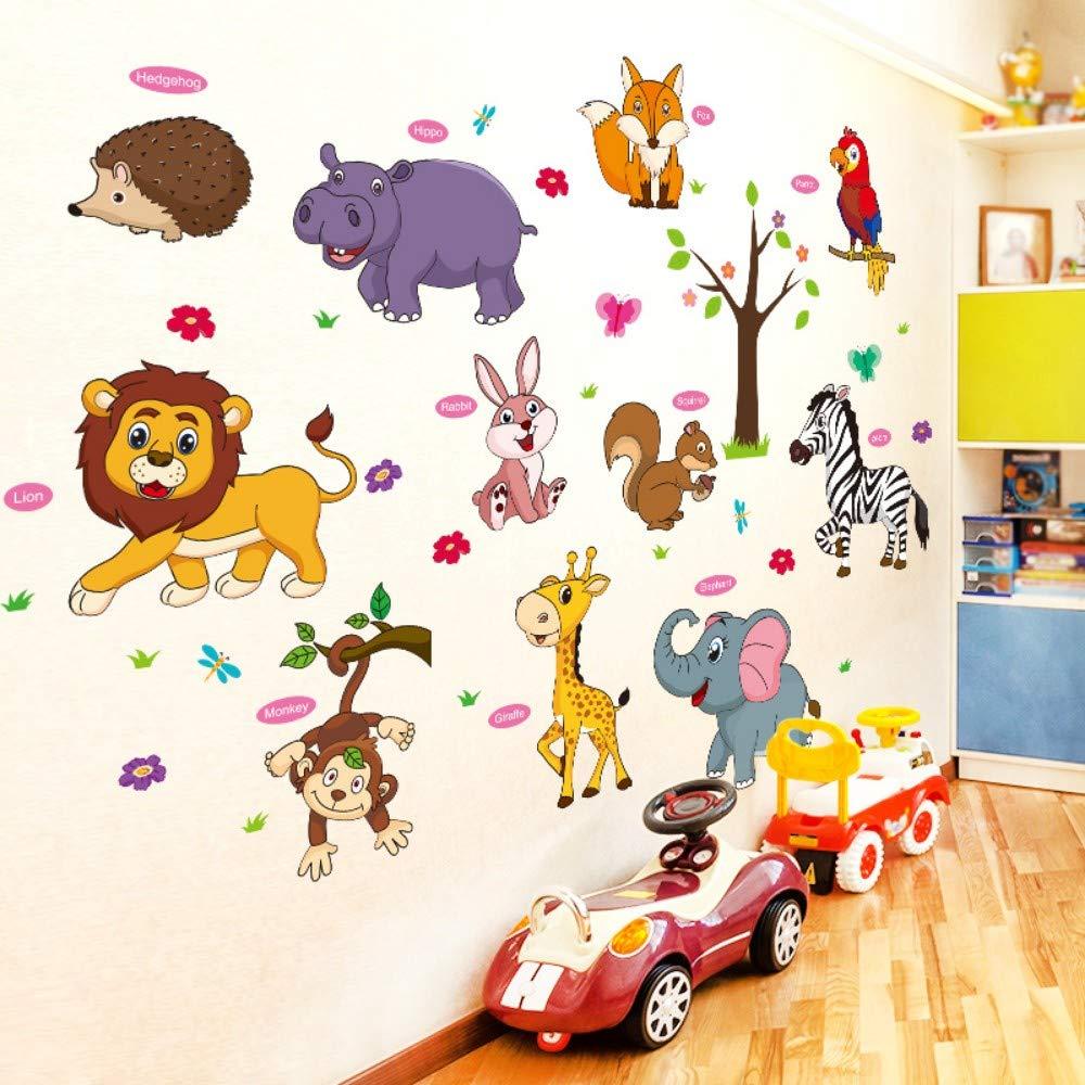 Cartoon Lion Fox loro erizo etiqueta de la pared vinilo DIY ...