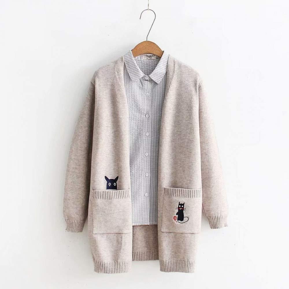 FUHENGMY Pullover Vintage Frauen Tiefem V-Ausschnitt Gestrickte Strickjacken Pullover   Kawaii Lustige   Lange Pullover Weibliche Übergröße