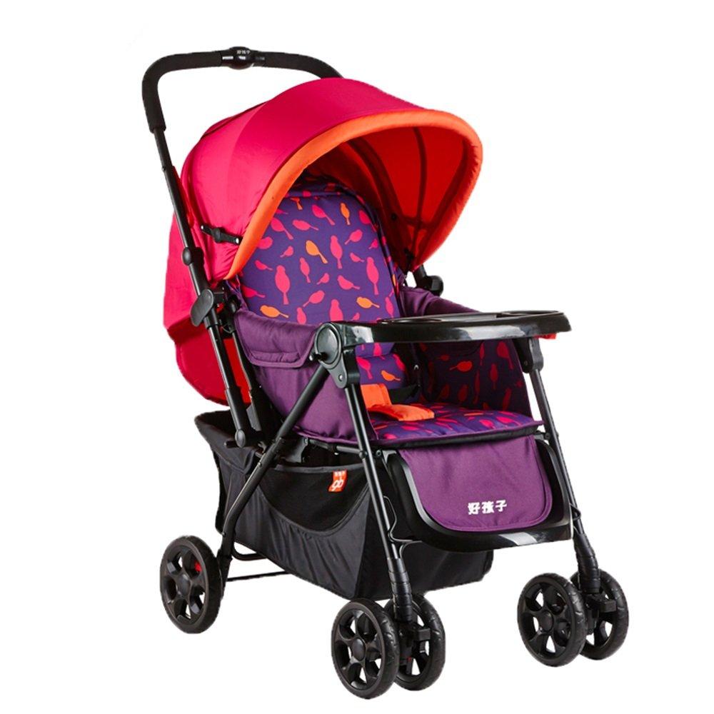 Mei Xu ベビーカー 赤ちゃんのトロリー折りたたみ自転車は、新生児の赤ちゃん2ウェイ四輪ショックアブソーバトロリーを取ることができます (色 : Red)  Red B07MNWQBR4