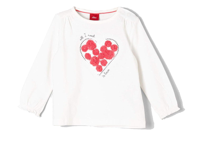 s.Oliver M/ädchen Langarm Shirt//Langarmshirt mit Herz Motiv in Ecru 65.901.31.8530 0210