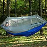 Hulorry Hammock Heavy Duty Outdoor, Double Outdoor Hammock Portable Hammock Chair Garden Beach Backyard with Mosquito Net Hanging Swing for Hiking,Travel,Camping Lightweight Parachute
