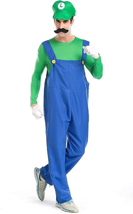Mario Costume Kit Adult Super Mario Brothers Bros Hat Halloween Fancy Dress