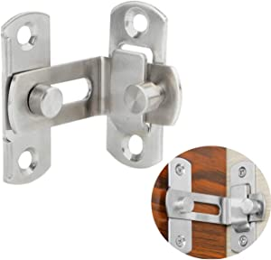 Gizhome 3 Inch 90 Degree Right Angle Door Latch Hasp Bending Latch Buckle Bolt Barn Sliding Lock Barrel Bolt with Screws for Toilet Doors and Windows