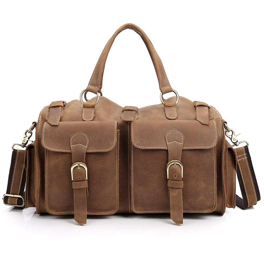 MATCHANT Mens Travel Bags Shoulder Bags Crossbody Shoulder Bag Multi-Purpose Leather Duffel Bag Cylinder Case Color : Brown