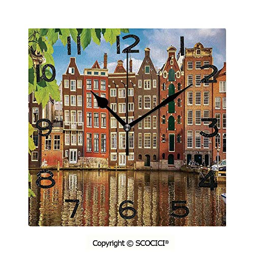 SCOCICI Print Square Wall Clock, 8 Inch Old Buildings in Amsterdam Nothern Fairy Cultural Nertherlands City with The River Quiet Desk Clock for Home,Office,School