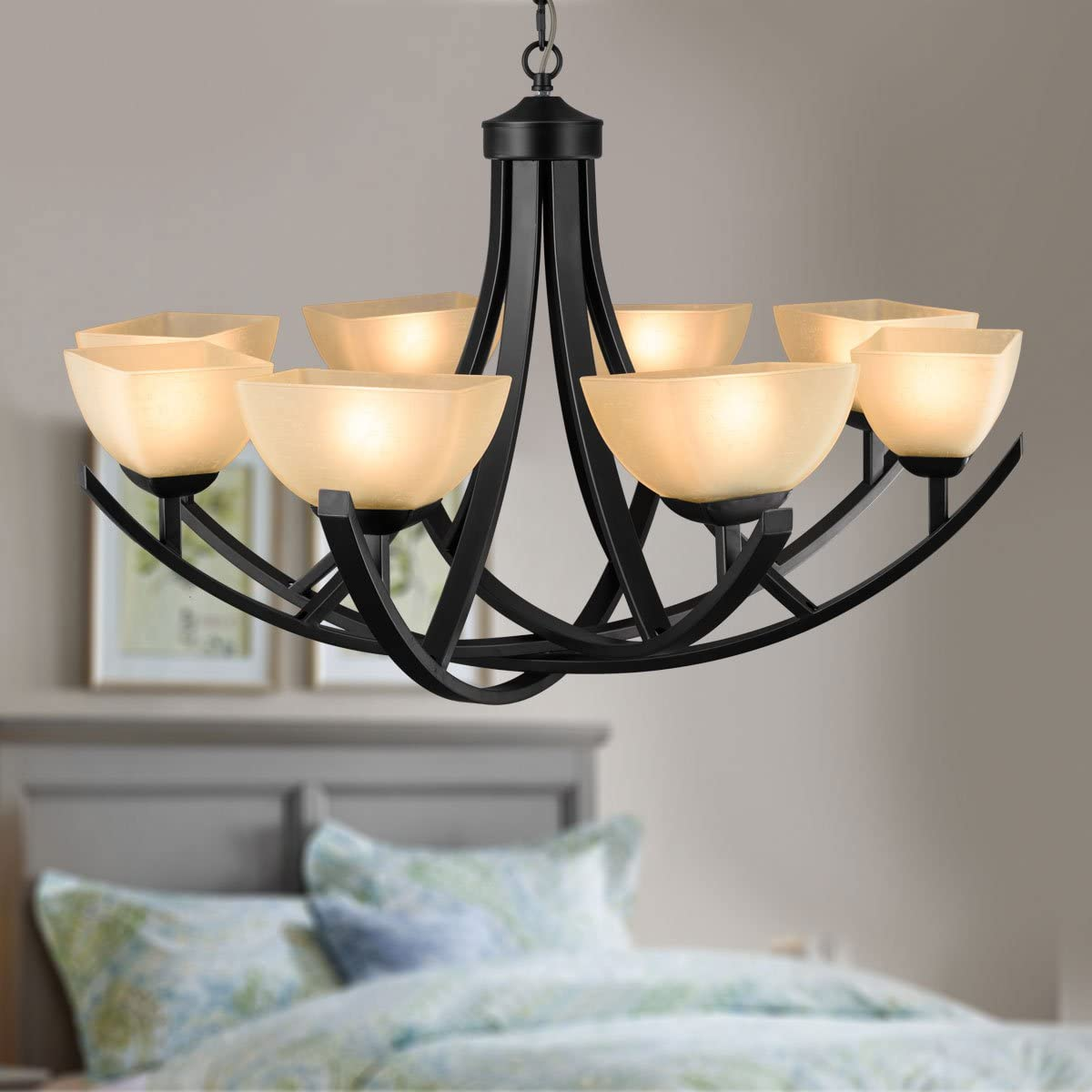 8-Light Black Wrought Iron Chandelier with Glass Shades C-8016-8