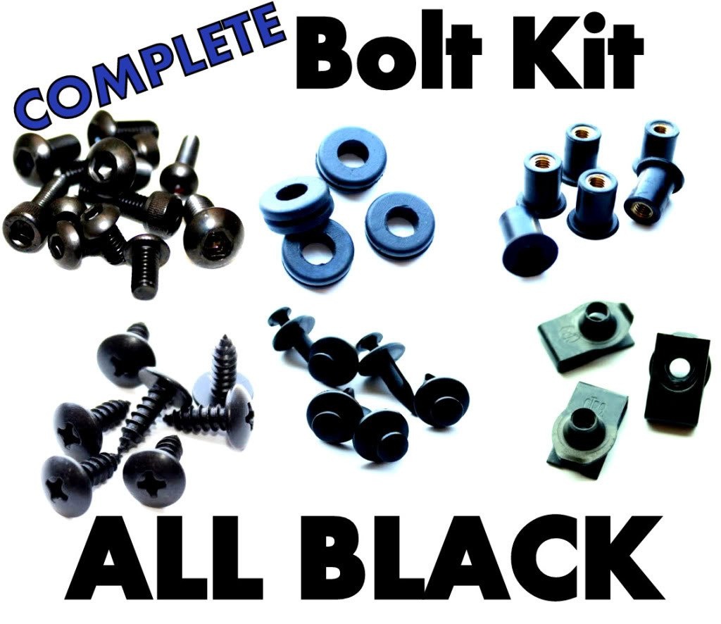 Complete Black Fairing Bolt Kit Screws Fasteners for Yamaha YZF R1 2004-2006