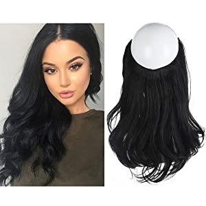"SARLA Black Hair Extension 14"" 3.8oz Short Wavy Curl Halo Wire Sercet Crown Synthetic Natural Hairpieces No Clip No Glue No Tape Heat Resistant Fiber M04&1B"