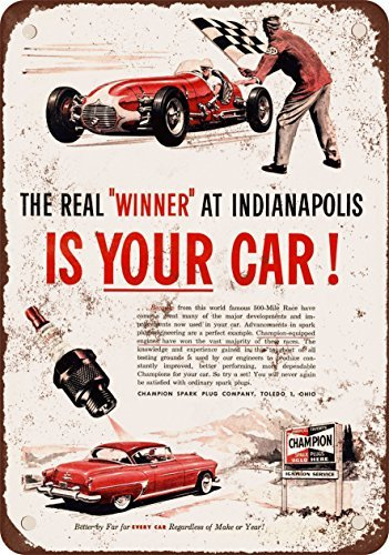 1953 Champion bujías y Indianapolis 500 Vintage Look reproducción Metal Tin Sign 12 x 18 pulgadas: Amazon.es: Hogar