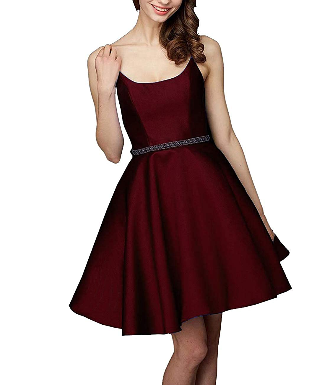 Burgundy FeiYueXinXing Satin KneeLength Strap Prom Party Gowns Junior's Short Homecoming Dresses