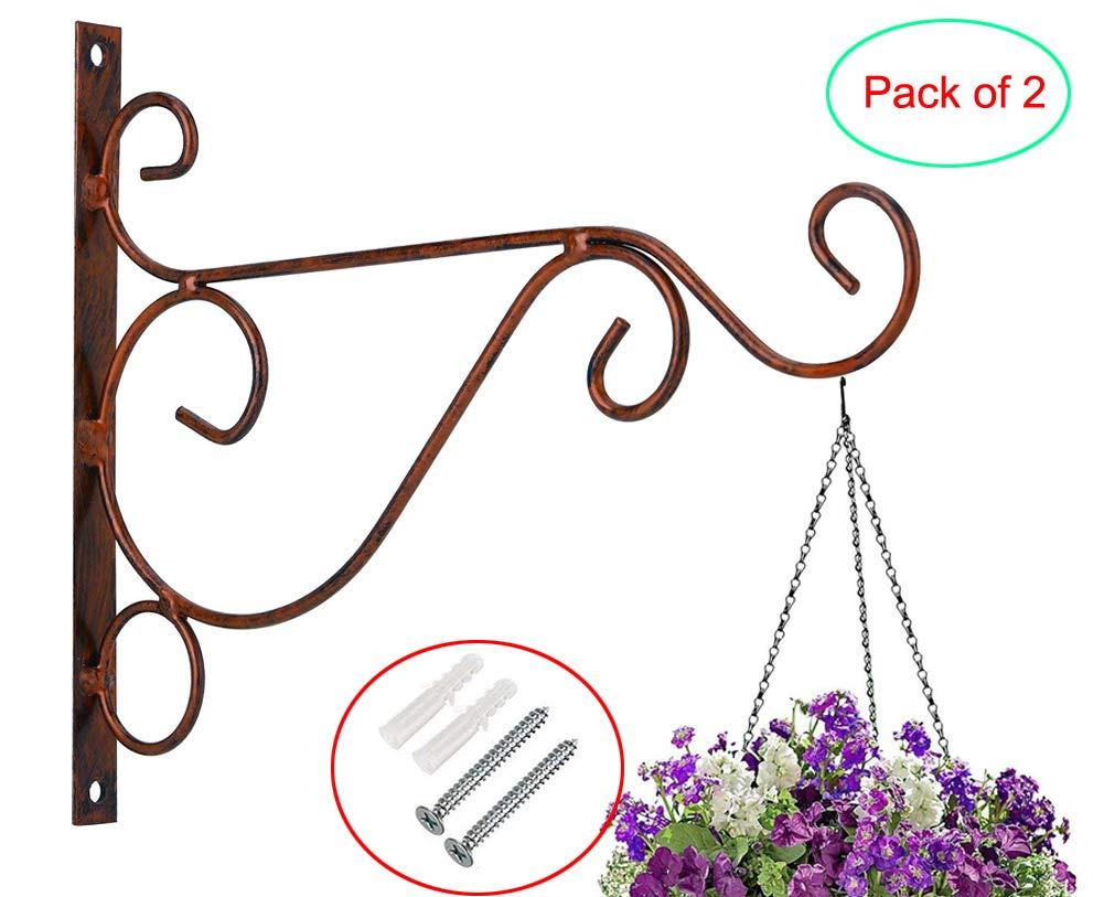 Home Garden Decor Flower Pot Hooks Hanger Outdoor/Indoor Hanging Plants Bracket Lantern Hooks Pack of 2 (B, 9.8 x 8.2 in, Coffee)