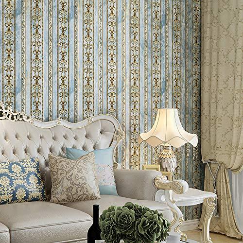 Damask Stripes Wallpaper - Blooming Wall Vintage French Damasks Gold Stripes Textured Wallpaper Wall Paper for Livingroom Kitchen Bedroom,20.8 In32.8 Ft=57 Sq.ft (Blue Stripes)