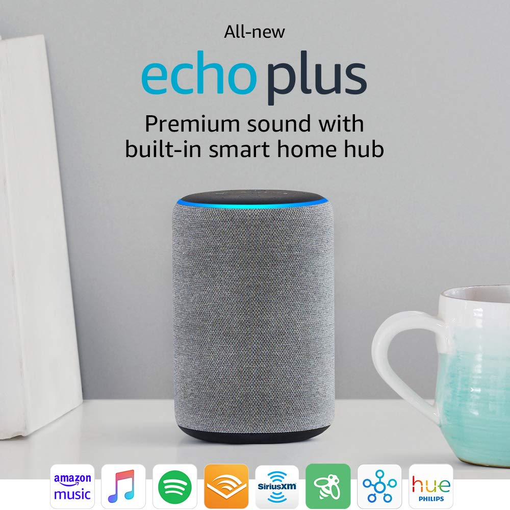 All-new Echo Plus (2nd Gen) Bundle with Philips Hue Bulb - Heather Gray