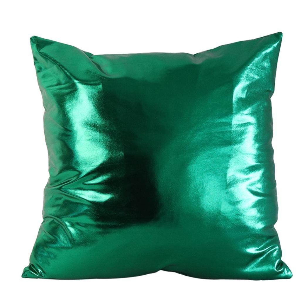 45cm*45cm Pillow Case, HUHU833 Simple Solid Cushion Cover Throw Sofa Home Decor (Dark Green)