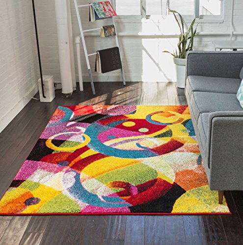 bubble bright multi circles yellow blue red abstract geometric lines area rug 5 x 7 5 39 3 x 7 39 3. Black Bedroom Furniture Sets. Home Design Ideas