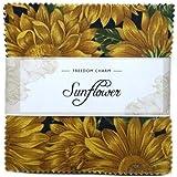 Fabric Freedom Stoff Freiheit Sonnenblume Freiheit Charme, 100% Baumwolle, mehrfarbig, 13x 13x 1,5cm