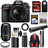 Nikon D7500 Wi-Fi 4K Digital SLR Camera with 18-140mm & 55-300mm VR DX Lens + 500mm Telephoto Lens + 64GB Card + Battery + Backpack + Monopod + Kit