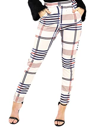 70488f2b240c janisramone Womens Ladies New Tartan Check Print High Waisted Paper Bag  Tapered Tailored Trousers Cigarette Pants: Amazon.co.uk: Clothing