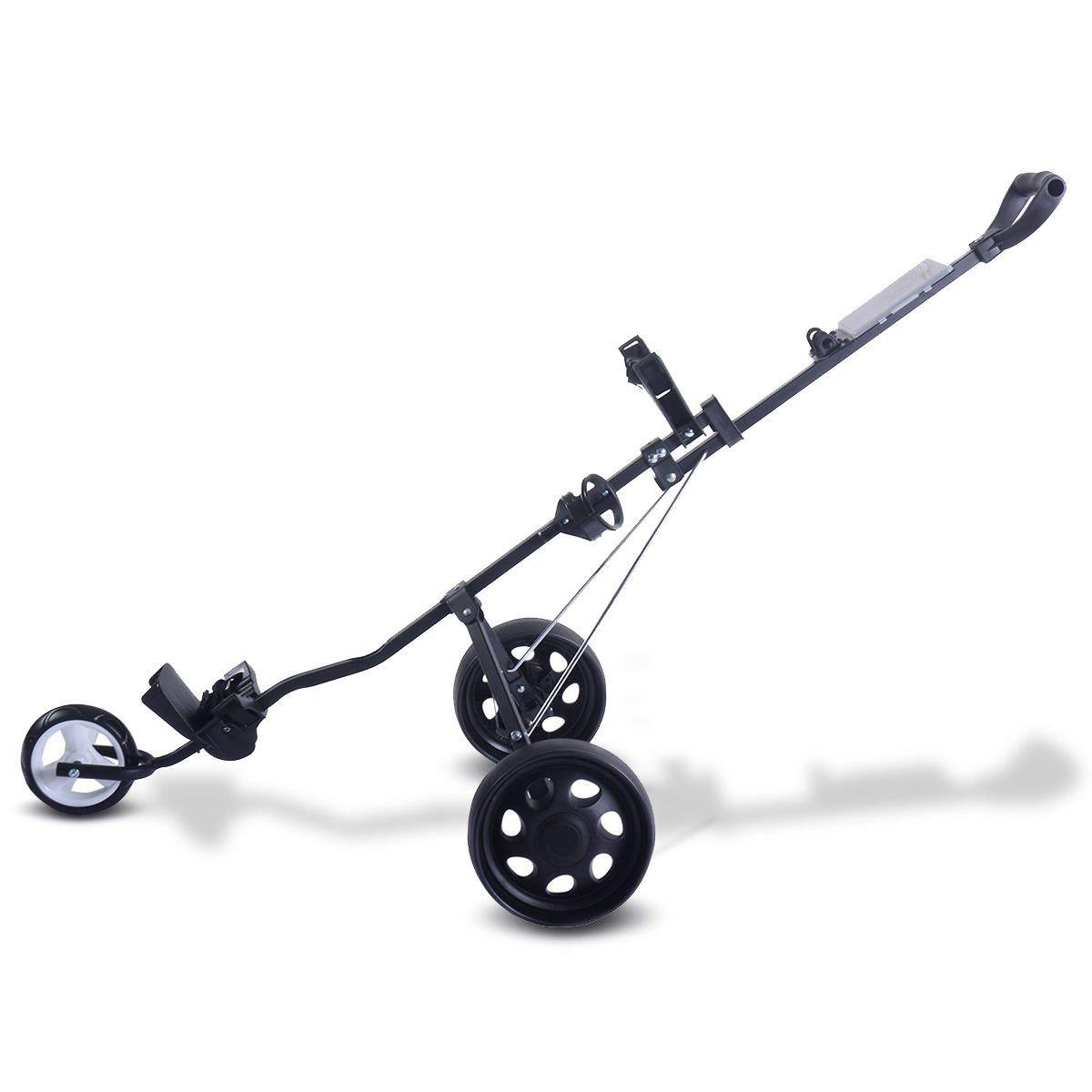KCHEX>>>折りたたみプルプッシュゴルフカート 3輪トロリースイベル カップホルダースコアカード付き>これは当社の折り畳み式3輪ゴルフトロリーで、ゴルフエクササイズに最適です。 The Golf cart Will Hold Two   B07KVPDZJ1