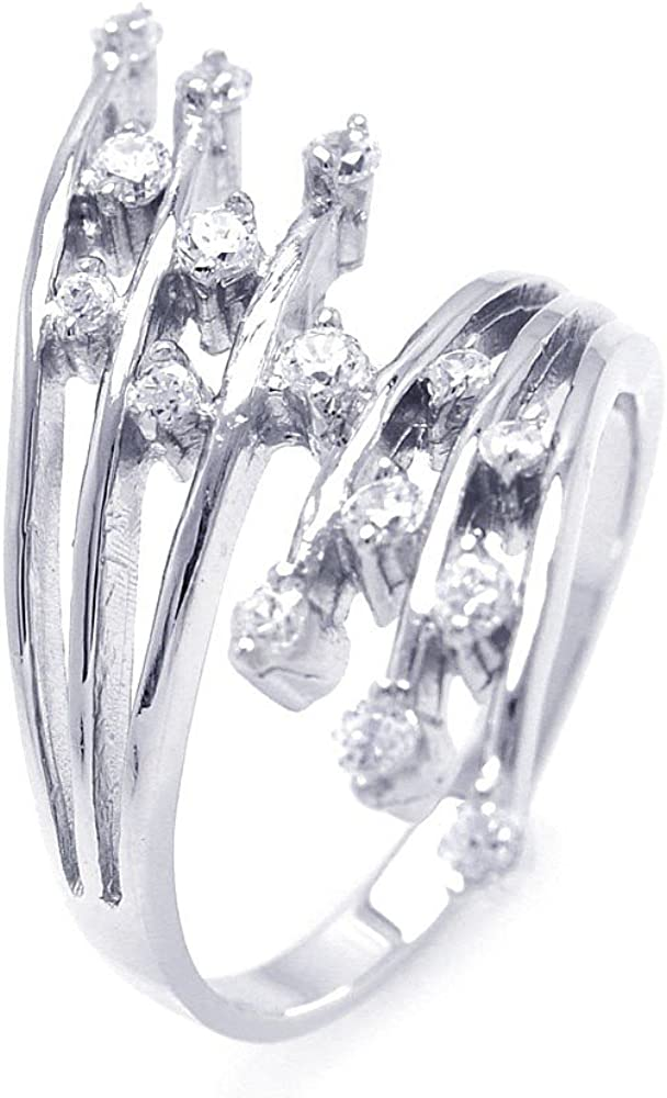 Cubic Zirconia Double Rows Ring Rhodium Plated Sterling Silver