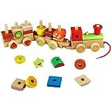 Forme Geometriche Legno Trenino Legno Costruzioni Trenino Legno Bambini Tirare il Giocattolo per Bambini 3 Anni,30 Pezzi
