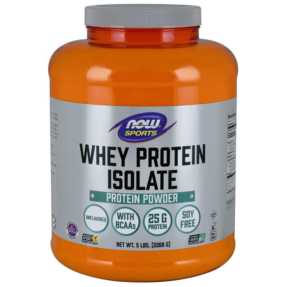 NOW Sports Nutrition, Whey Protein Isolate Powder, Unflavored, 5-Pound by Now Sports
