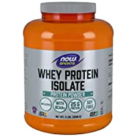 NOW Sports Nutrition, Whey Protein Isolate, 25 G With BCAAs, Unflavored Powder,...