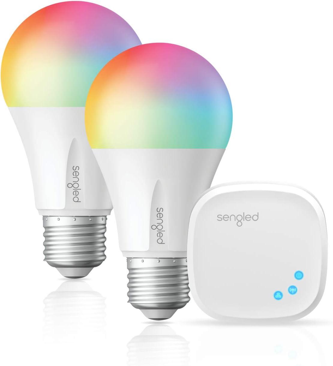 Sengled Smart Light Bulb, LED Light Bulb that Works with Alexa, Google Home, Siri, RGB Color Changing Bulb, A19 E26 Alexa Light bulbs, Dimmable Bulbs 60W Equivalent, 800LM, Hub Required, 2Pack & 1 Hub