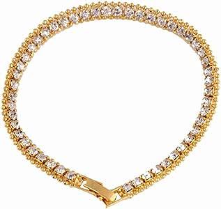 Qiiueen Pulseras Hombre Y Mujer, Aleación De Acero Inoxidable, Brazalete De Diamantes, Brazalete De Acero De Titanio Color Oro: Amazon.es: Joyería