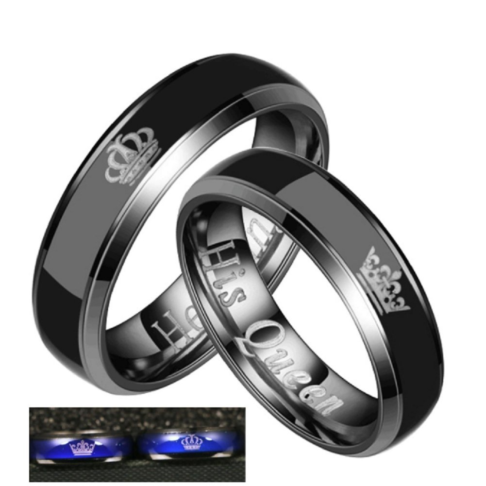 Amazon Blowin Black Stainless Steel Color Changing Her King His Queen Mood Ring Engagement Wedding Band Promise For Men Women Jewelry: Mood Ring Wedding Ring At Reisefeber.org
