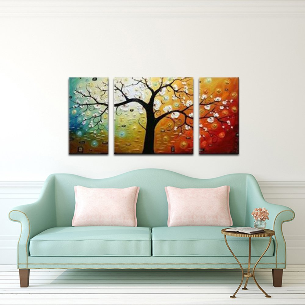Wieco Art 3-Piece Lucky Tree Stretched and Framed Hand Painted Modern Canvas Wall Art Set