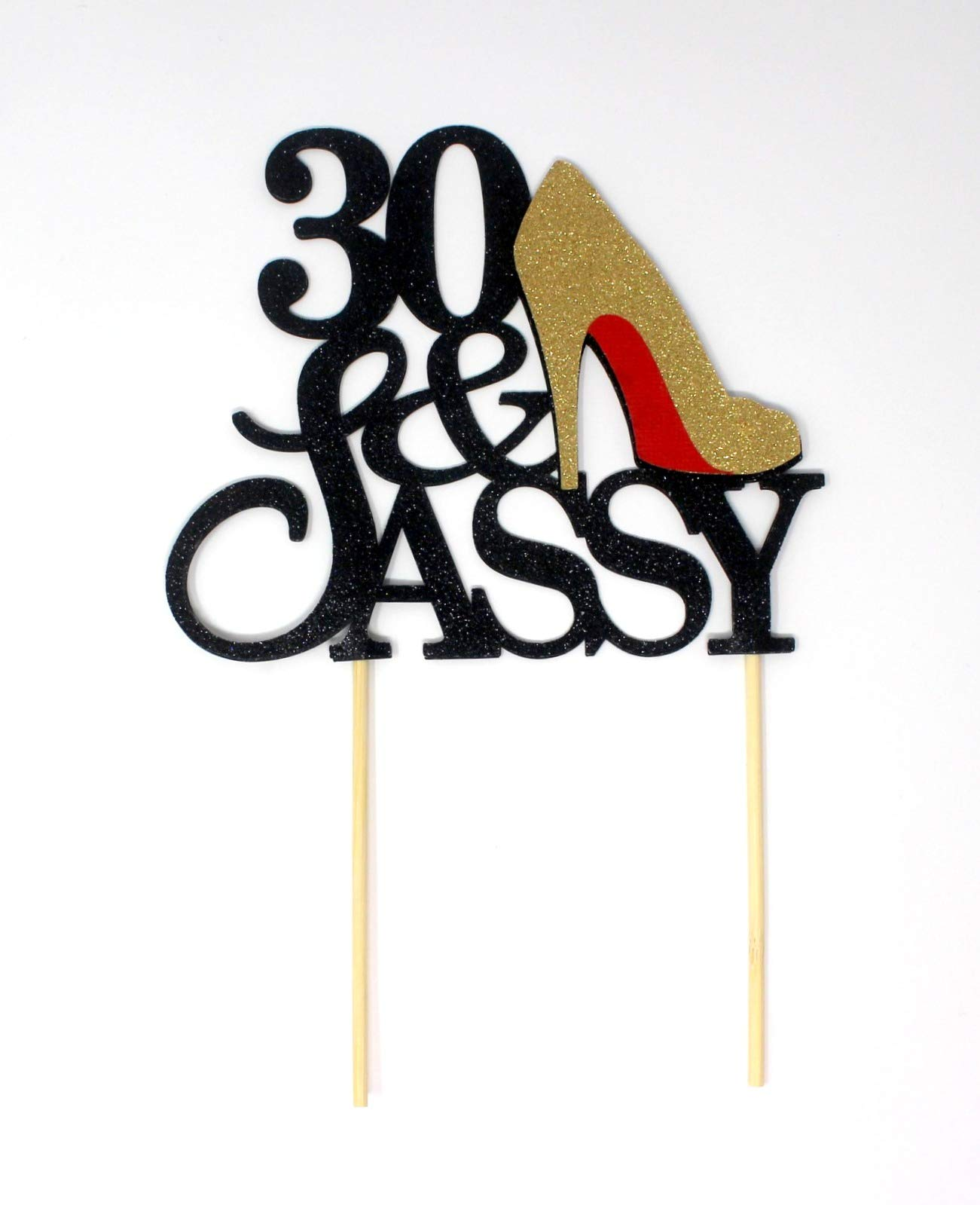 All About Details CAT30SABGO 30 and Sassy Cake Topper (Black and Gold), 6in Wide and 5in Tall with 2-pcs of 4in Wood skewers