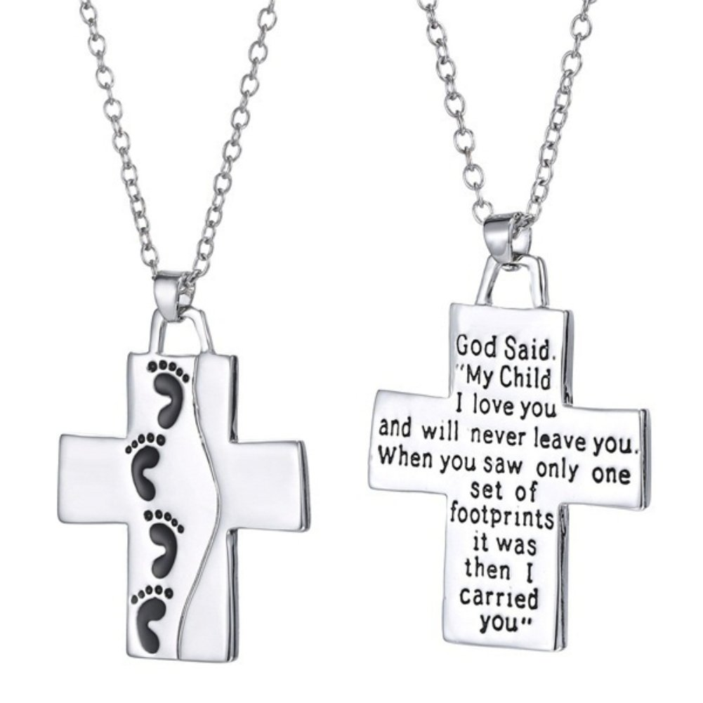 Wintefei God Said on Back Footprints Cross Pendant Women Men Necklace Christian Jewelry