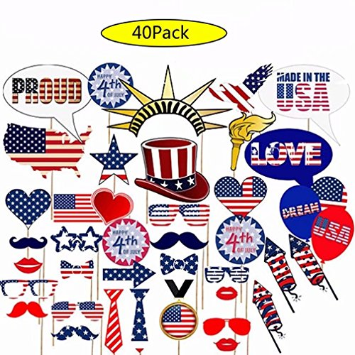Patriotic Photo Booth Props 4th of July Decorations for American Independence Day Party Event 40 Pack DIY Kit Attached to the Sticks...