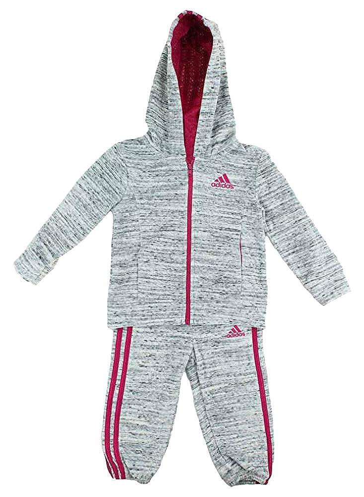 adidas Girls 2-Piece Jacket Pants Velor Tracksuit Set Light Grey