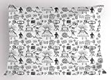 Ambesonne Movie Theater Pillow Sham, Hand Drawn Style Cinema Pattern with Various Different Icons Black and White, Decorative Standard Queen Size Printed Pillowcase, 30 X 20 inches, Black White