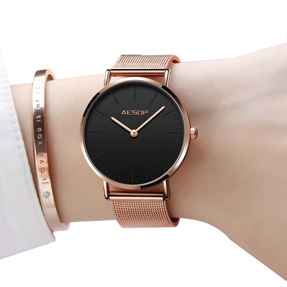 Ultra Thin Watches for Women,Rose Gold Ladies Watch Water Resistant Mesh Band Luxury Sports Womens Watches Analog Japanese Quartz Wrist Watches Female Watches on Sale,Black Dial,Big Face,AESOP Brand