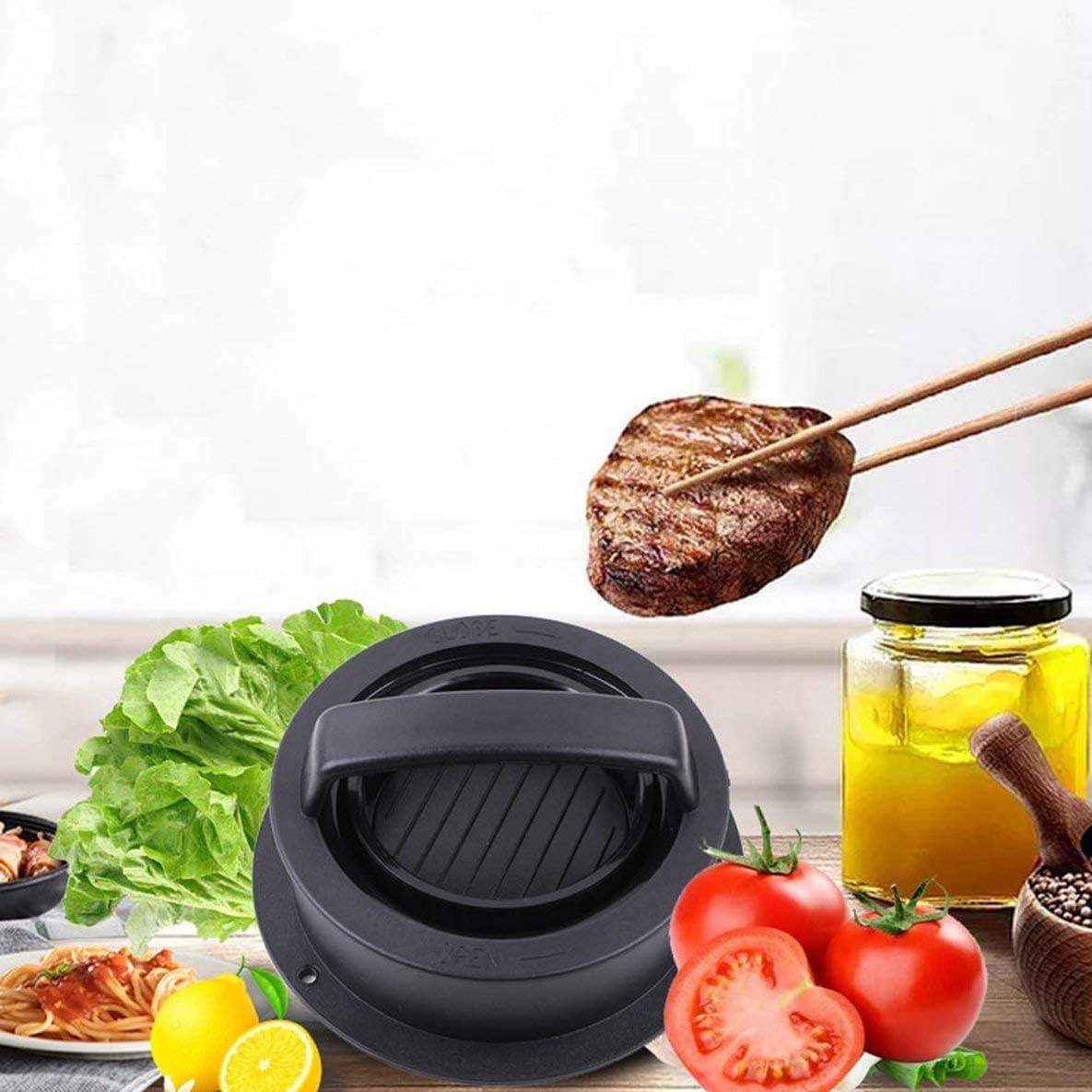 Stampo per carne portatile leggero Stampo combinato per hamburger combinato in plastica ABS Strumenti di cottura fatti in casa fai-da-te Hambuger nero Stampo per carne per hamburger