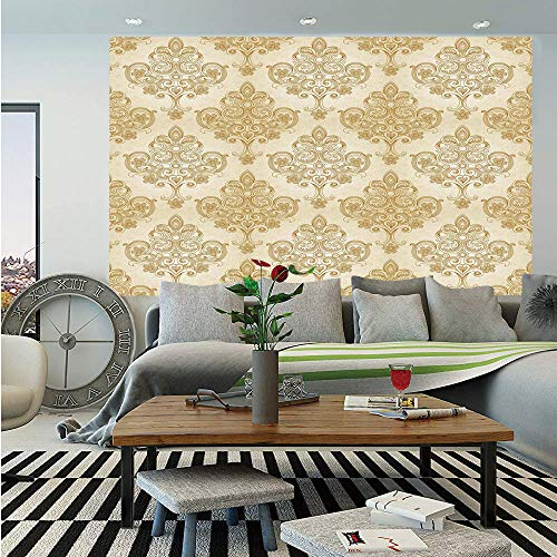SoSung Ivory Huge Photo Wall Mural,Vintage Baroque Pattern with Curved Flower Lines Rococo Style Ornate Artwork,Self-Adhesive Large Wallpaper for Home Decor 100x144 inches,Cream Light Brown ()