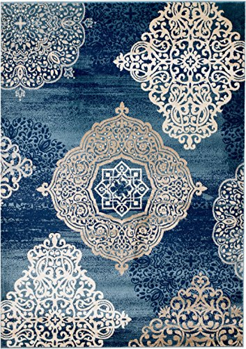 MADISON COLLECTION 406 Modern Abstract Blue Medallions Area Rug Clearance Soft and Durable Pile. Size Option , 1 .10 x 7 Hallway Runner
