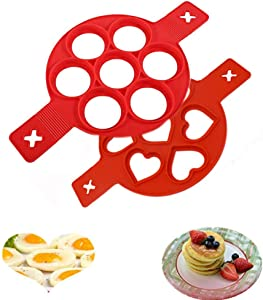 Egg Ring Nonstick Silicone Round Egg Rings Pancake Mold Reusable Silicone Non Stick Pancake Maker Egg Ring Maker(2 pcs)