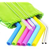 Topsky Silicone and Stainless Steel Drinking Straws, Extra Long Colored Flexible Smoothie Reusable Silicone Straws for 30 oz Tumbler Yeti / Rtic, Cleaning Brush and Storage Pouch Included