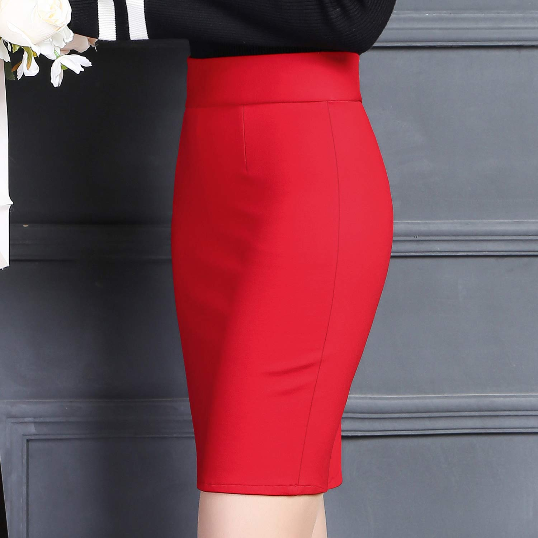 DISSA BD1101 - Falda Mini lápiz para Mujer Rojo 36: Amazon.es ...