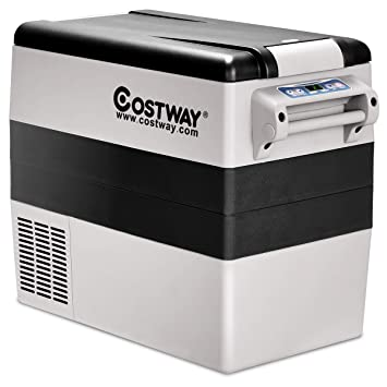 COSTWAY Car Freezer, 54 Quart Compressor Travel RV Refrigerator -4°F to  50°F, Portable and Compact Electric Vehicle 12V/24V Car Cooler Fridge, For